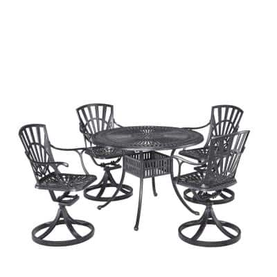 Grenada Charcoal Gray 42 in. 5-Piece Cast Aluminum Round Outdoor Dining Set