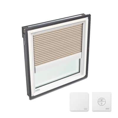 22-1/2 in. x 23 in. Fixed Deck Mount Skylight with Laminated Low-E3 Glass and Beige Solar Powered Room Darkening Blind