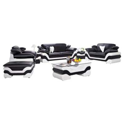 Luxury 7-Piece Black and White Leather Sectional with Ottom
