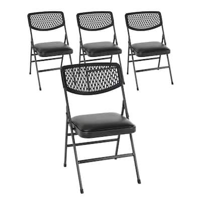 Black Vinyl Padded Seat Folding Chair (Set of 4)