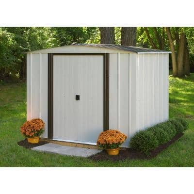 Newport 8 ft. W x 6 ft. D 2-Tone Eggshell and Coffee Galvanized Metal Shed with Sliding Lockable Doors