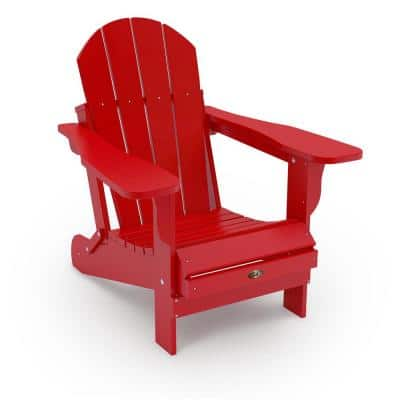 Recycled Red Folding Plastic Adirondack Chair