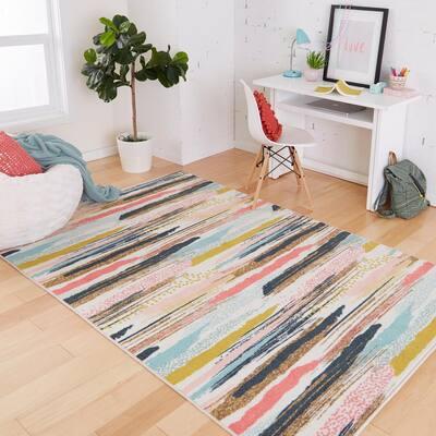 Brushed Stripe Multi 5 ft. x 8 ft. Modern Area Rug