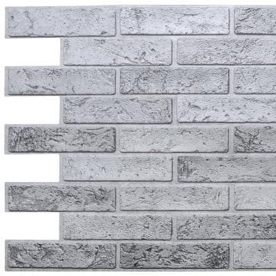 3D Falkirk Retro III 38 in. x 20 in. Silver Faux Brick PVC Decorative Wall Paneling
