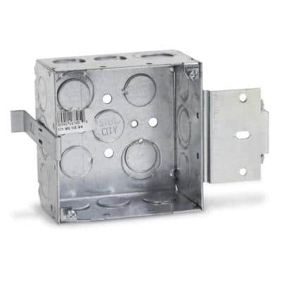 1-Gang 4 in. 30.3 cu. in. New Work Pre-Galvanized Metal Square Electrical Box with MS Bracket (Case of 25)