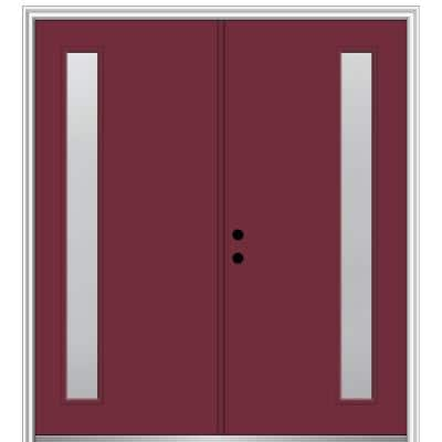 64 in. x 80 in. Viola Right Hand Inswing 1-Lite Frosted Painted Fiberglass Smooth Prehung Front Door on 4-9/16 in. Frame