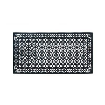 First Impression Artistic Black 30 in. x 60 in. Rubber Paisley Beautifully Hand Finished Thick Door Mat