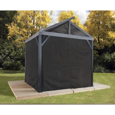 12 ft. W x 12 ft. H Black Curtains (set of 4) for South Beach Sun Shelter with Zippers (Gazebo not Included)