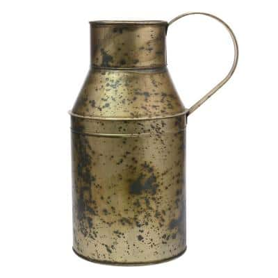 8.5 in. x 17 in. Weathered Brass Oil Can Container