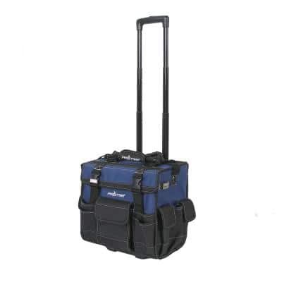 15 in. Heavy-Duty Rolling Tool Bag with Wheels in Black and Blue