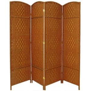 Deals on Oriental Furniture 6 ft. Dark Beige 4-Panel Room Divider