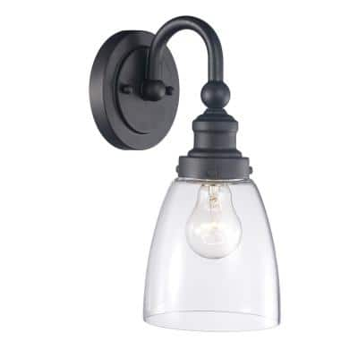 Jennifer 1-Light Rubbed Oil Bronze Wall Sconce with Clear Glass Shade