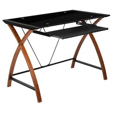35.5 in. Rectangular Black/Brown Computer Desks with Keyboard Tray