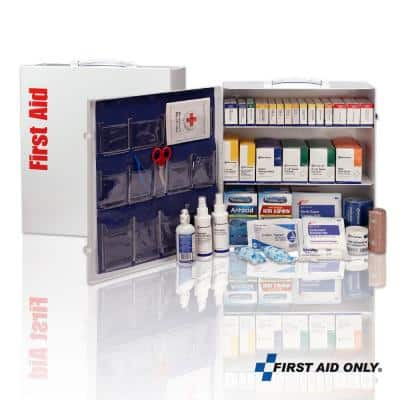 100-Person, 3-Shelf Metal ANSI B Plus First Aid Cabinet with Medications