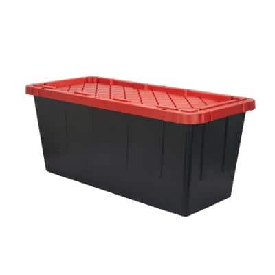 55 Gal. Tough Storage Tote in Black with Red Lid