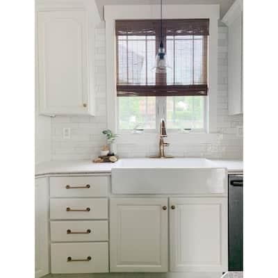 Josephine Crisp White Fireclay 34 in. 1-Hole Single Bowl Quick-Fit Drop-In Farmhouse Apron Kitchen Sink