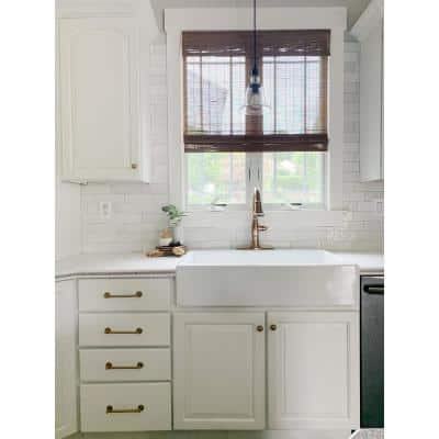 Josephine 34 in. Fireclay 3-Hole Single Bowl Drop-in Farmhouse Kitchen Sink in Crisp White​