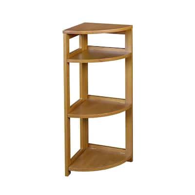 34 in. Medium Oak Wood 3-shelf Foldable Corner Bookcase