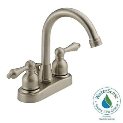 4 in. Centerset 2-Handle High-Arc Bathroom Faucet in Satin Nickel with Drain