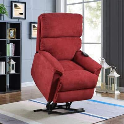 Red Power Lift Chair Massage Soft Fabric Upholstery Recliner Chair with Remote