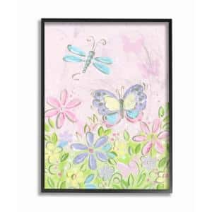 16 in. x 20 in. ''Pastel Butterfly and Dragonfly'' by Reesa Qualia Wood Framed Wall Art