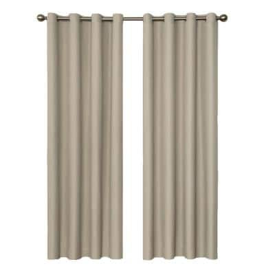 String Beige Thermal Grommet Blackout Curtain - 52 in. W x 63 in. L