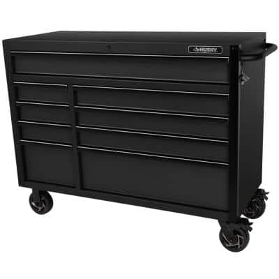Industrial 52 in. W x 21.5 in. D 9-Drawer Matte Black Tool Chest Rolling Cabinet