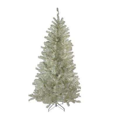 7 ft. Unlit Metallic Sheer Champagne Artificial Tinsel Christmas Tree