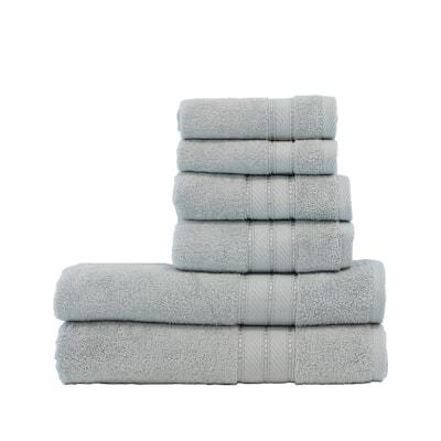 Spunloft 6-Piece Gray Solid Cotton Towel Set