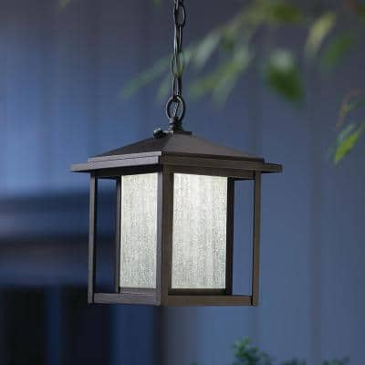 Mauvo Canyon Collection Black Outdoor Dusk to Dawn Hanging Lantern