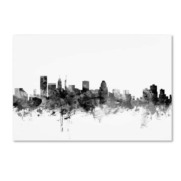 Trademark Fine Art 16 In X 24 In Baltimore Maryland Skyline Black And White By Michael Tompsett Floater Frame Architecture Wall Art Mt1030 C1624gg The Home Depot