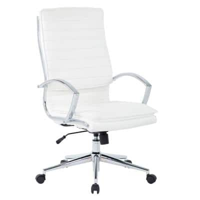 High Back Manager's White Faux Leather Chair with Chrome Base