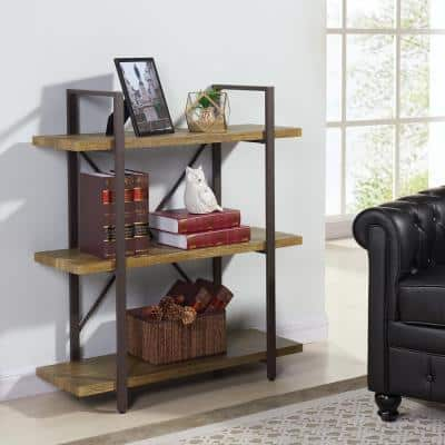 40 in. Brown/Tan Metal 3-shelf Etagere Bookcase with Open Back
