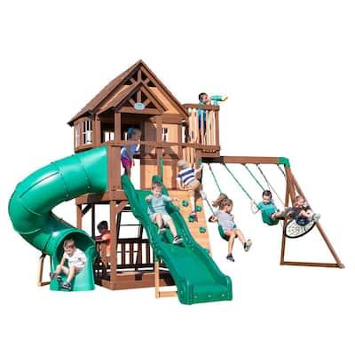 Skyfort All Cedar Wooden Swing Set with Tube Slide
