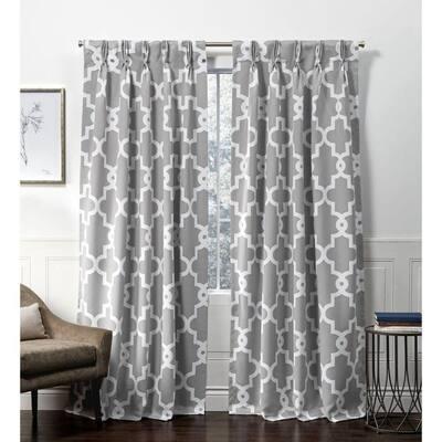 Silver Trellis Blackout Curtain - 27 in. W x 96 in. L