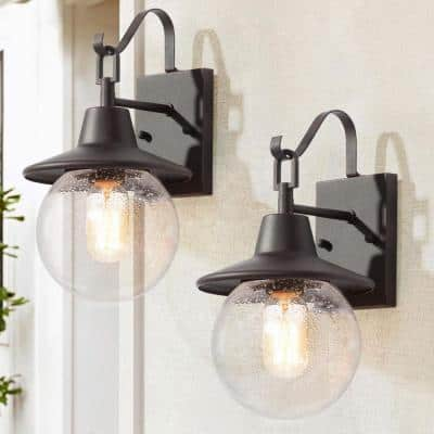 1-Light Rustic Bronze Outdoor Wall Lantern Sconces with Seeded Glass Shades, Globe Outdoor Wall Light (2-Pack)