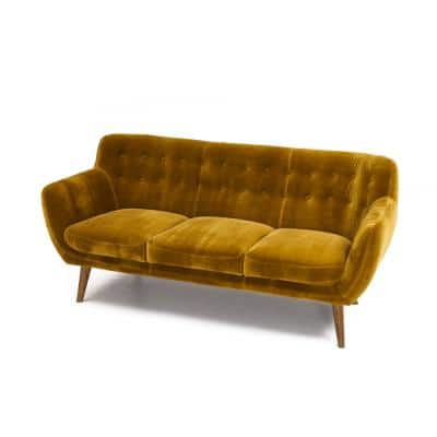 Rhodes 72 in. Mustard Solid Print Polyester 3-Seats Mid Century Modern Sofa Tufted Sofa