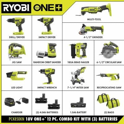ONE+ 18V Cordless 12-Tool Combo Kit with 3 Batteries and Charger