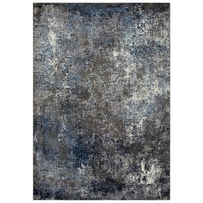Venice Silver/Blue 7 ft. 10 in. x 9 ft. 10 in. Abstract Area Rug