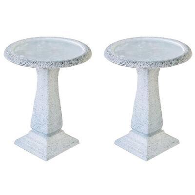24.5 in. Tall White Fiber Stone Matt Birdbaths with Tall Square Pedestal and Base (Set of 2)