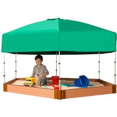 Classic Sienna 7 ft. x 8 ft. x 5.5 in. Composite Hexagon Sandbox Kit with Telescoping Canopy/Cover - 1 in. profile