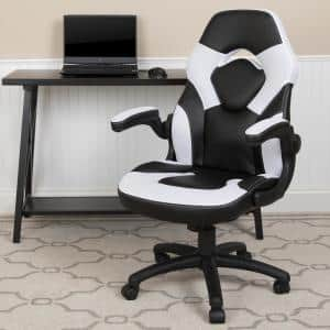 White LeatherSoft Upholstery Racing Game Chair
