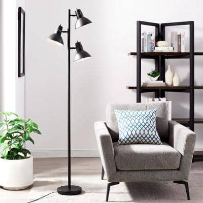 Richland 67 in. Bronze 3-Light Tree Floor Lamp with Metal Adjustable Shades, LED Bulbs Included