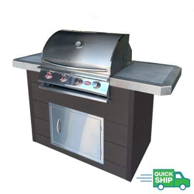 6 ft. Synthetic Wood and Tile Grill Island with 4-Burner Gas Grill in Stainless Steel
