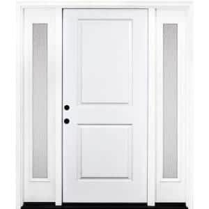 72 in. x 80 in. Classic 2-Panel RHIS Primed White Steel Prehung Front Door with Double 16 in. Rain Glass Sidelites