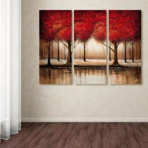 32 in. x 42 in. ''Parade of Red Trees'' by Rio Printed Canvas Wall Art