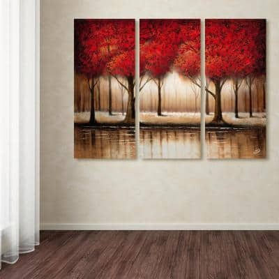 """32 in. x 42 in. """"Parade of Red Trees"""" by Rio Printed Canvas Wall Art"""