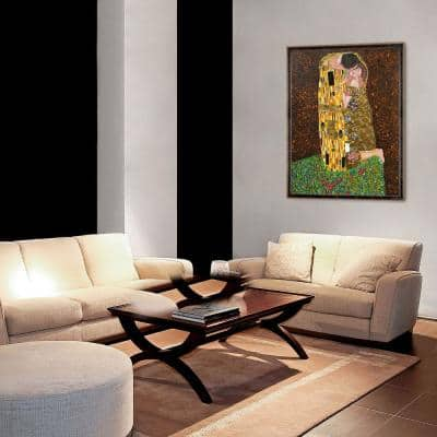 """52 in. x 40 in.""""The Kiss (Full View - Luxury Line) with Antiqued Athenaeum Scoop Frame"""" by Klimt Framed Wall Art"""