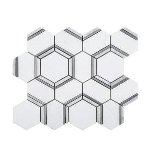 Locket White 12 in. x 10.375 in. Hexagon Polished Marble Wall and Floor Mosaic Tile (0.864 sq. ft./Each)