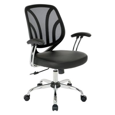Black Faux Leather Screen Back Chair with Chrome Padded Arms and Dual Wheel Carpet Casters